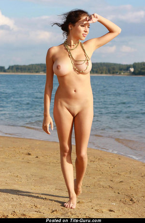 Charming Brunette Babe with Charming Bald Regular Breasts, Large Nipples, Tan Lines & Sexy Legs on the Beach (Hd Porn Photoshoot)