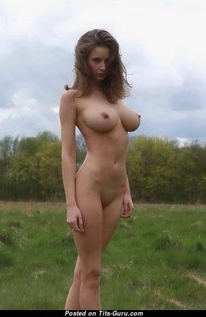 Emily Florence - Splendid Glamour & Topless Brunette with Splendid Open Natural Medium Tots, Enormous Nipples, Sexy Legs (Xxx Wallpaper)