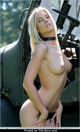 Image. Topless blonde with medium natural tittes image