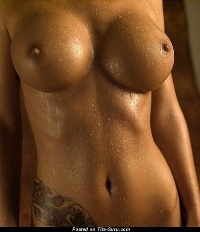 Image. Wet naked wonderful female with big fake boobs and tattoo pic
