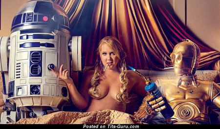 Amy Schumer - Pretty Topless American Blonde Actress with Pretty Nude Real Med Chest (Sex Wallpaper)