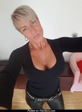 Fascinating Non-Nude Blonde Secretary & Mom with Fascinating Firm Melons (on Public Selfie 18+ Image)