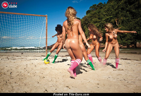 Appealing Topless Latina Brunette & Blonde with Nice Nude Soft Tots in Socks on the Beach (Xxx Image)