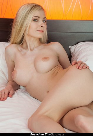 Lenore - Elegant Glamour & Topless Blonde with Elegant Bald Med Titties & Sexy Legs is Undressing (Sex Image)