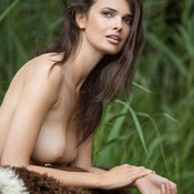 Brunette with big natural boob image