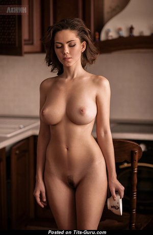 Sexy Brunette with Sexy Nude Real Mid Size Hooters (Porn Image)
