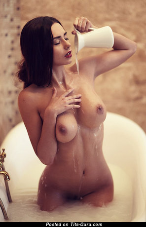 Helga Lovekaty - The Nicest Topless & Wet Russian Brunette Babe & Pornstar with The Nicest Bald Natural Sizable Busts & Inverted Nipples in the Shower (Hd Sex Photo)