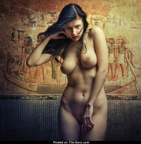 Image. Naked brunette with big natural tittes photo