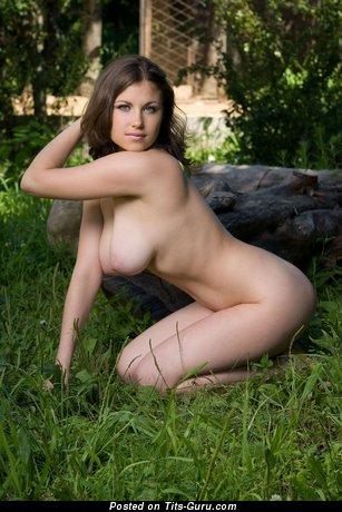 Image. Nude brunette with big natural tots and big nipples picture