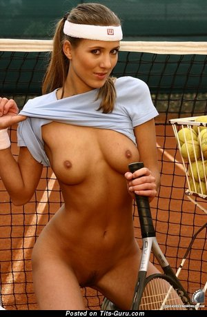 Sexy Doll with Sexy Bare Real Tits is Playing Tennis (Hd Porn Image)