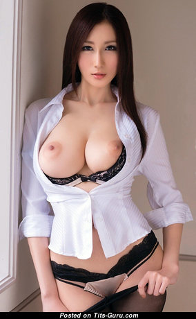 Sweet Topless Asian Brunette Babe & Secretary with Sweet Exposed Real Mid Size Knockers & Big Nipples in Panties & Lingerie is Undressing (Cosplay 18+ Pic)