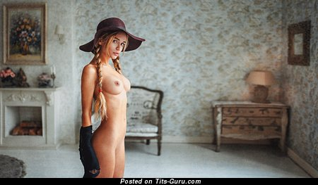 Image. Sexy topless amateur beautiful woman with medium natural breast picture