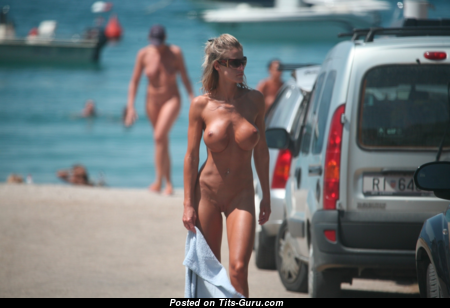 Nudist Women - The Best Blonde with The Best Exposed Round Fake Tittys on the Beach (Voyeur Hd Xxx Photo)