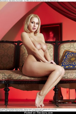Image. Nude blonde with big natural tots image