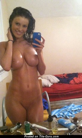 Image. Sexy topless amateur awesome lady with big tits selfie