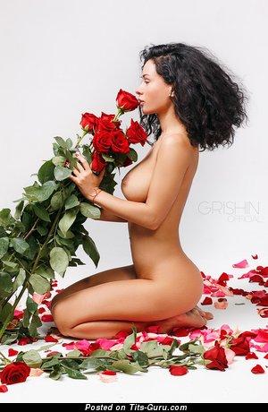 Image. Anastasia Shpits - sexy naked brunette with medium natural boobies image