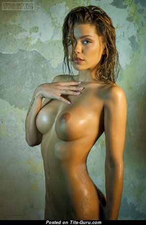 Anjou - Appealing Brunette Babe with Appealing Bare Silicone Boob in the Shower (Hd Porn Wallpaper)