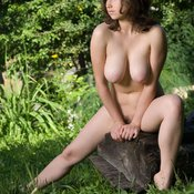 Brunette with big natural boob and big nipples image