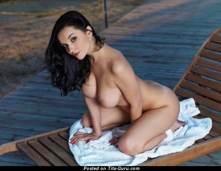 Image. Naked brunette with big natural tits image