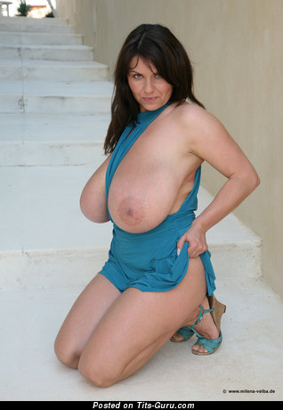 Milena Velba - Appealing Czech Brunette Babe with Appealing Exposed Real I Size Melons & Enormous Nipples (Hd Sex Image)