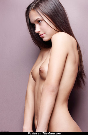 Nude nice lady with small natural breast photo