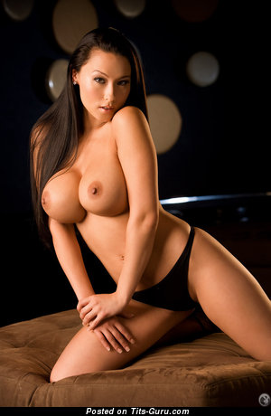 Image. Julri Waters - naked brunette with big fake tittes pic