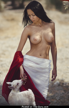 Image. Topless brunette with big natural boobs pic