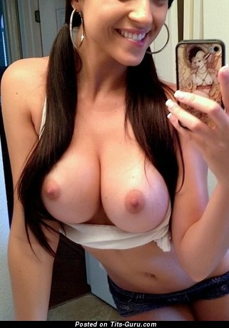 Image. Sexy amateur naked brunette with medium natural boobies selfie