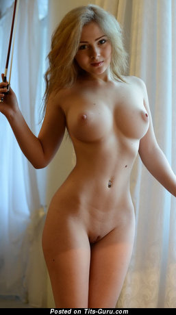 Fascinating Topless Blonde Babe with Fascinating Bald Firm Busts & Puffy Nipples (Home Xxx Pix)