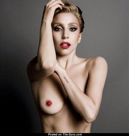 Lady Gaga - Dazzling Topless American Blonde Singer & Actress with Dazzling Nude Natural Tight Chest, Long Nipples, Tattoo & Piercing (Vintage Hd Xxx Foto)