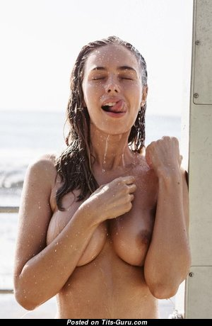 Anthea Page - Yummy Topless & Wet Australian Red Hair Babe with Yummy Naked Natural Titties & Erect Nipples in the Shower (Porn Photo)