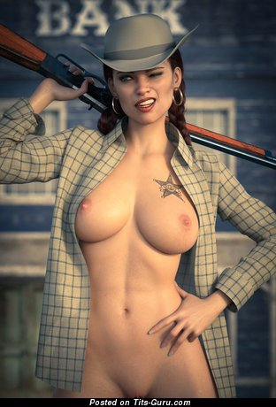 Nude nice girl with medium natural boobies image