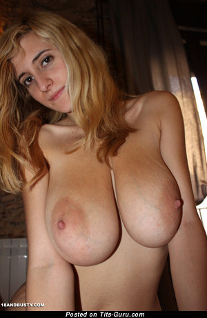 Eli Tetona - Awesome Topless Spanish Blonde Pornstar with Awesome Bare Real Very Big Tit (Sexual Picture)