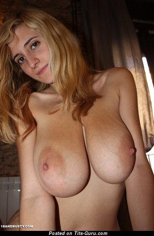 Eli Tetona - Delightful Topless Spanish Blonde Pornstar with Delightful Naked Natural Sizable Balloons (Sex Wallpaper)