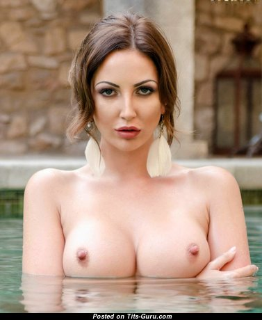 Cara Steel - Appealing Topless British Brunette Babe with Appealing Bald Medium Boobies in the Pool (18+ Wallpaper)