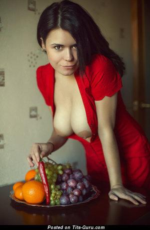 Naked wonderful woman with medium natural boob photo