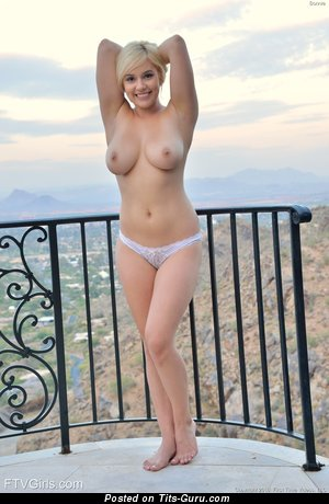 Sexy topless blonde with medium boob and big nipples picture