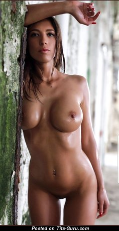 Dazzling Brunette Babe with Dazzling Exposed Round Fake Tight Boobys, Huge Nipples, Piercing (Hd Sexual Photoshoot)