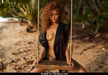 Julia Yaroshenko - Amazing Red Hair Babe with Amazing Exposed Natural Busts & Erect Nipples on the Beach (Hd Porn Picture)