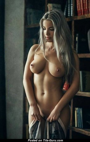 Pleasing Topless Blonde with Cute Bare Medium Jugs (Porn Image)