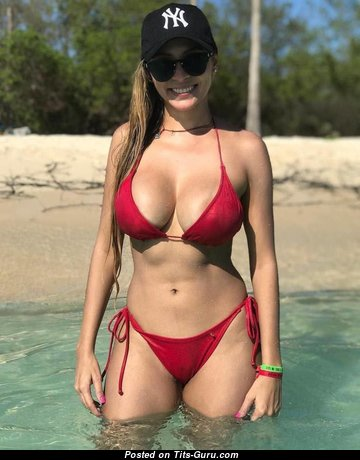 The Best Non-Nude Blonde Babe with The Best Dd Size Breasts in Bikini on the Beach (Private 18+ Photoshoot)