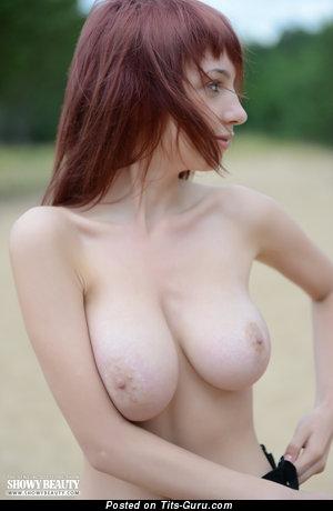 Rima - naked red hair with medium natural boob image