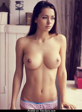 Helga Lovekaty - Pretty Topless Russian Brunette Pornstar & Babe with Pretty Bare Natural Mid Size Tittys & Large Nipples (Porn Image)