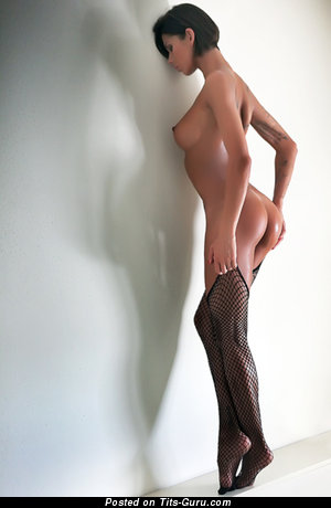 Perfect Brunette with Perfect Bare C Size Melons in Stockings (Xxx Wallpaper)