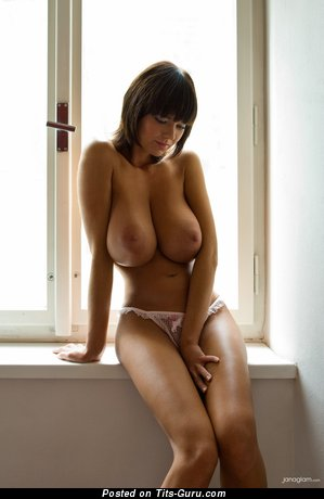 Gabrielle - nude brunette with huge natural breast image
