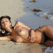 Anna Aj - wet topless brunette with medium natural tittes picture