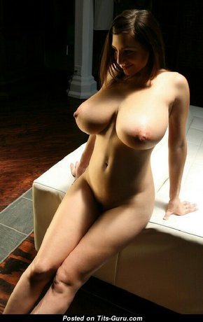 Dazzling Topless Brunette with Dazzling Exposed Big Sized Jugs (Sexual Photo)