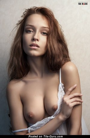 Image. Nude red hair with medium natural boobies pic