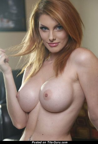 Appealing Topless Latina Red Hair Babe with Appealing Exposed Silicone Soft Tots & Long Nipples (Home Selfie Xxx Image)