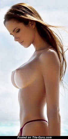 Image. Naked brunette with medium boobs pic